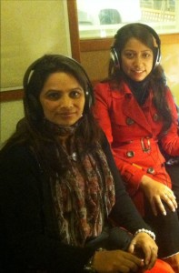 Nirmala Dhital (L) & Rakshya Risal in the KPFA Studios.   Photo courtesy Ken Stein