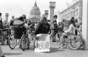 The S.F. Occupation was part of a national protest movement. These protestors are outside the HEW building in D.C., April 1977. Photograph by Anthony Tusler.